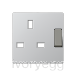 Centre plate for switched 13A BS socket, aluminium