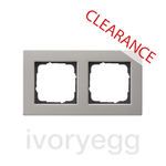CLEARANCE ITEM - GIRA E2 Flat 2 gang frame in Stainless Steel