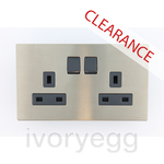 CLEARANCE ITEM - Millenium 2 gang BS double pole switched socket outlet 13A
