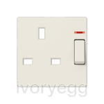 Centre plate for switched 13A BS socket with indicator light, ivory