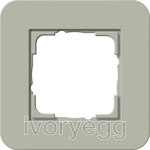 E3 Cover frame 1-gang, Grey Green Soft Touch with Pure White Glossy intermediate frame