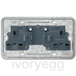 British Standard unswitched 13A socket insert 2-gang