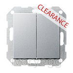 CLEARANCE ITEM - GIRA System 55 Double Push Switch Series Colour Aluminium