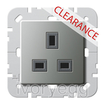 CLEARANCE ITEM - GIRA E22 British Standard un-switched mains socket 13A in Stainless Steel