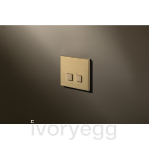 2 Button Select KNX Keypad Brushed Brass with RGB LED and RTC
