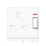 Centre plate for switched 13A BS socket with indicator light, white