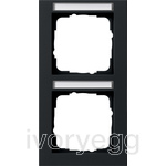 Cover frame 2-gang vertical inscription space Gira E2 black matt