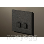 2 Button Select KNX Keypad Textured Black with RGB LED and RTC