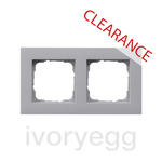 CLEARANCE ITEM - GIRA E2 Flat 2 gang frame in Colour Aluminium