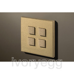 4 Button Select KNX Keypad Brushed Brass with RGB LED and RTC