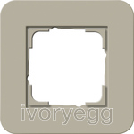 E3 Cover frame 1-gang, grey beige soft touch with pure white glossy intermediate frame